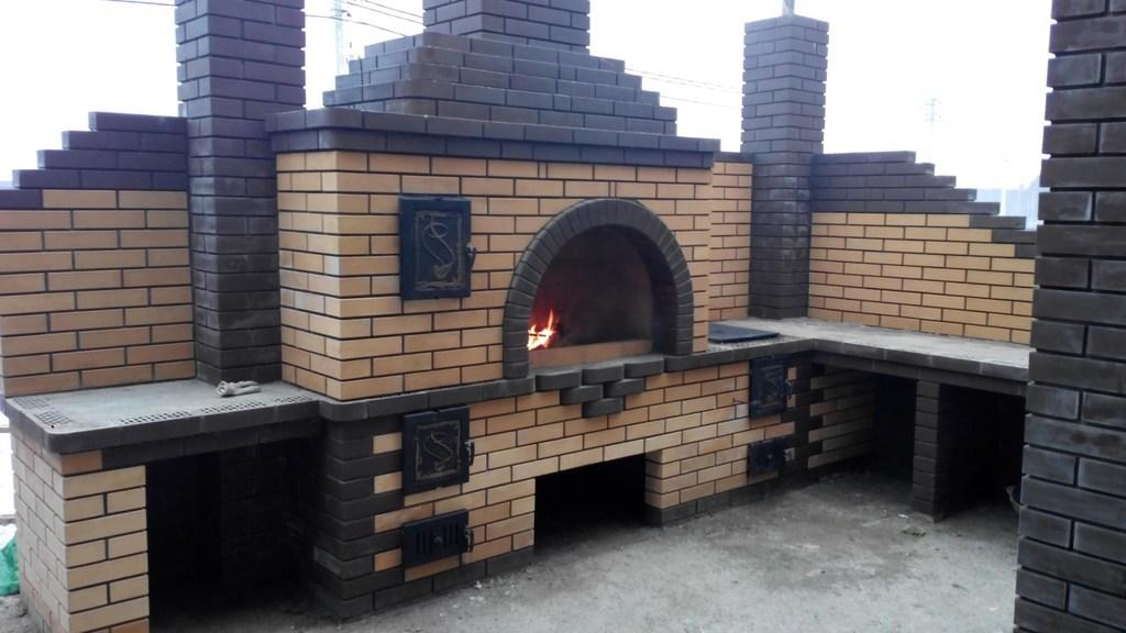 Уличный комплекс мангал с печью своими руками